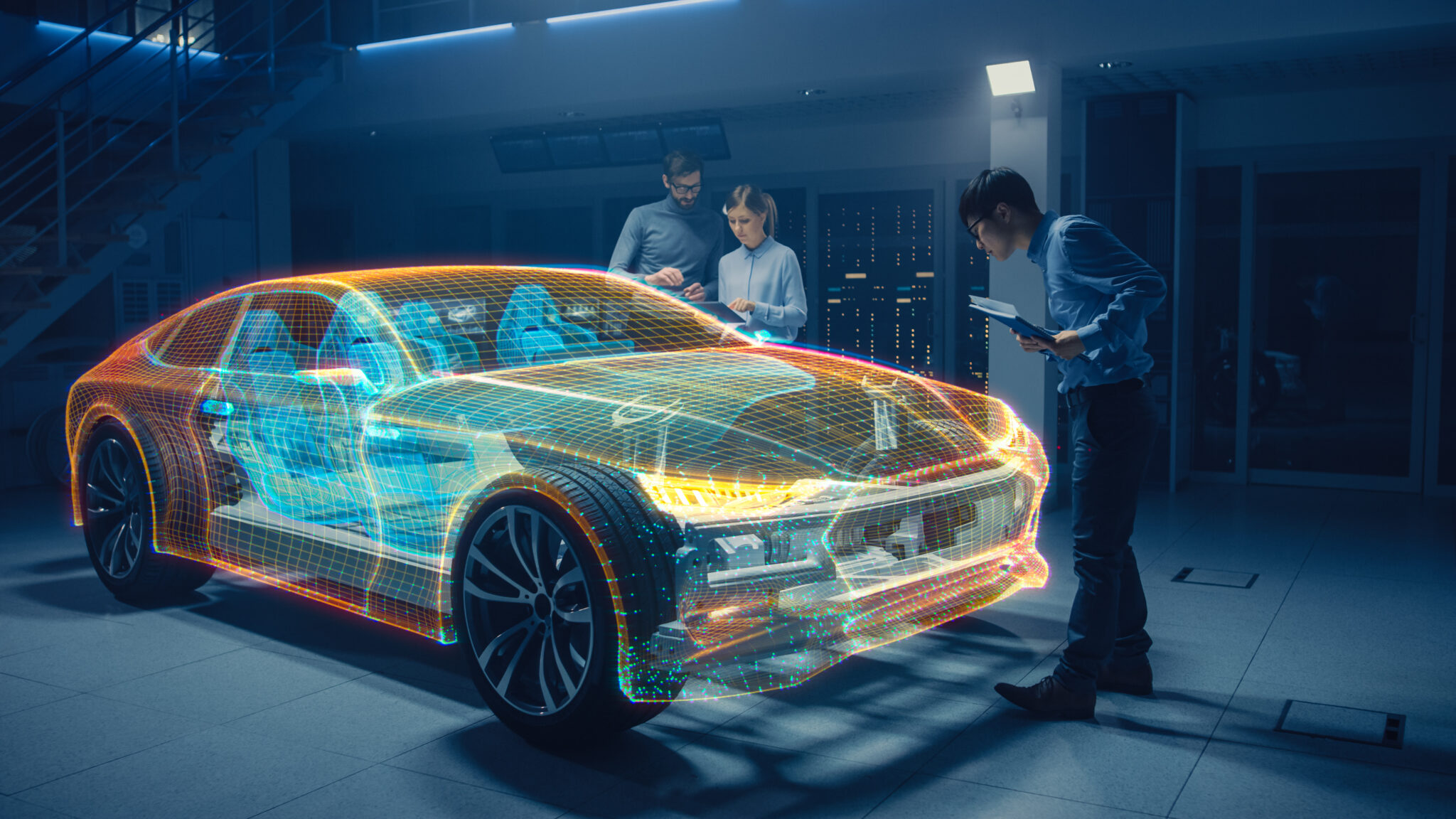 Group,Of,Automobile,Design,Engineers,Working,In,Virtual,Reality,3d